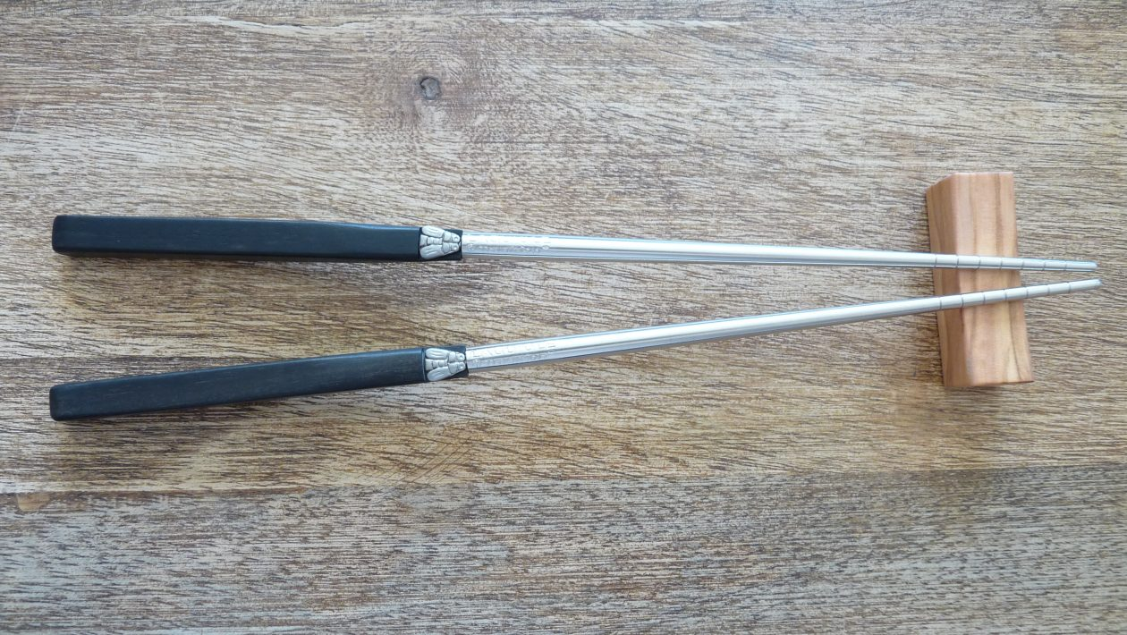 Metal and precious wood chopsticks