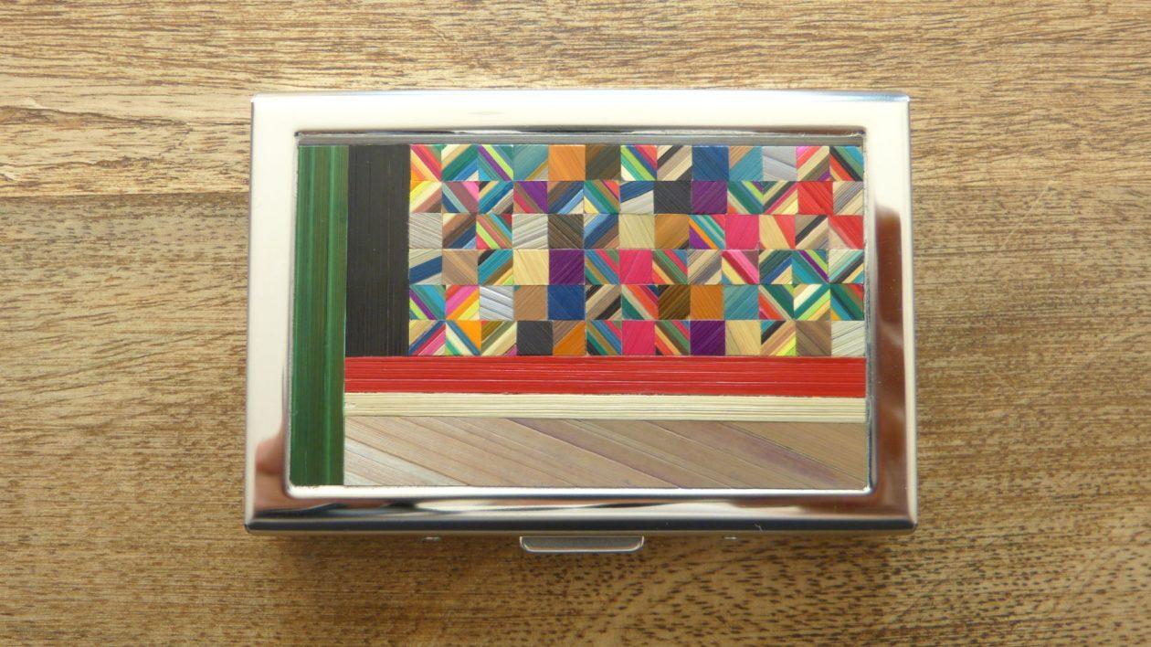 Porte-cartes & marqueterie de paille