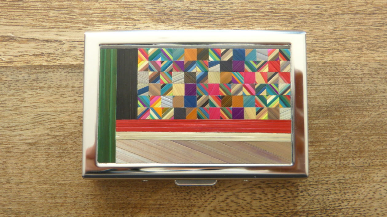 Card holder & straw marquetry