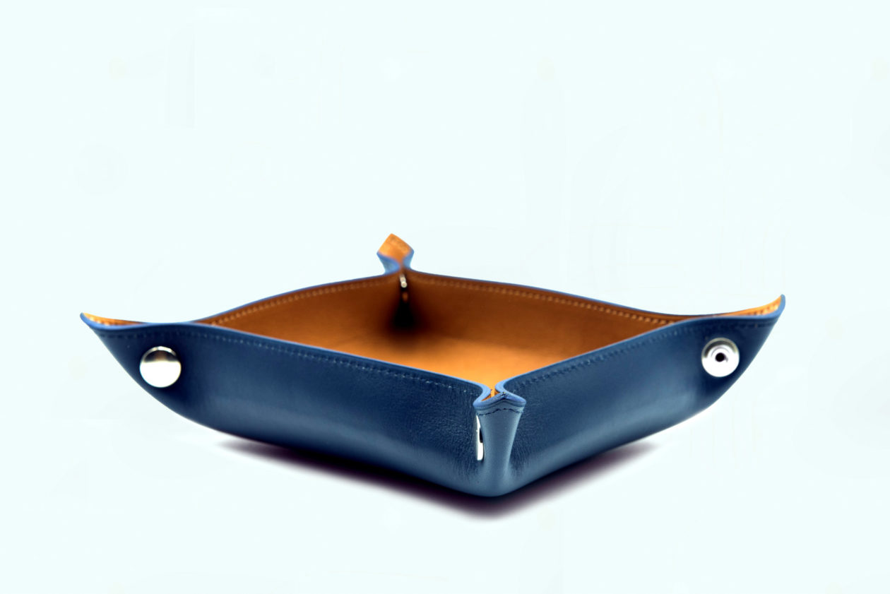 Leather change tray